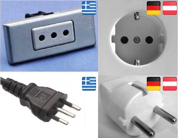 Stecker und Steckdosen in Griechenland und Deutschland im Vergleich