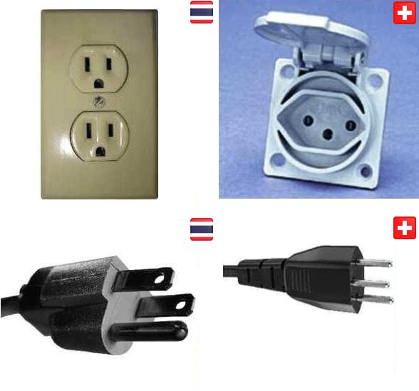 Stecker und Steckdosen in Thailand und der Schweiz im Vergleich