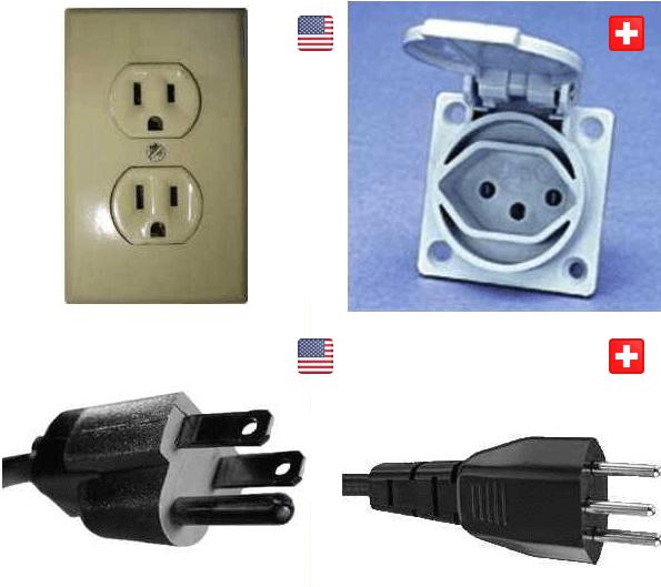 Steckdosen und Stecker in den USA und in der Schweiz im Vergleich